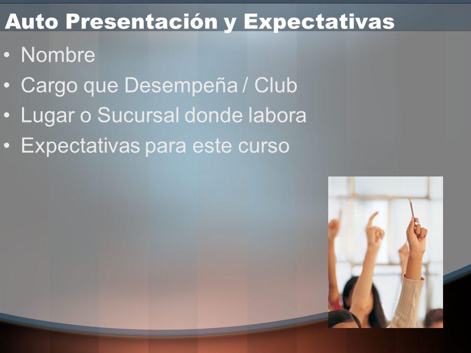 Auto Presentación y Expectativas Nombre Cargo que Desempeña / Club Lugar o Sucursal donde labora Expectativas para este curso