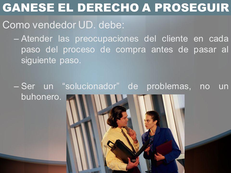 GANESE EL DERECHO A PROSEGUIR Hay que entender que el interés en una solución al problema, por parte del Cliente no es suficiente para lanzar el produ