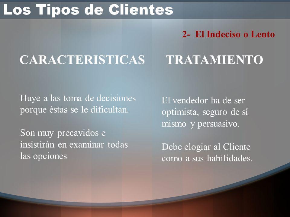 1- El Cliente Silencioso Casi no habla es difícil lograr que se interese. Pruebe preguntas abiertas. Busque temas en común. Pídale su opinión o que ex