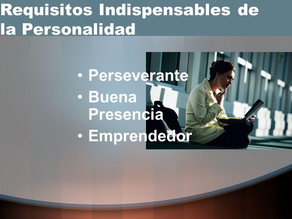 Perseverante Buena Presencia Emprendedor Requisitos Indispensables de la Personalidad