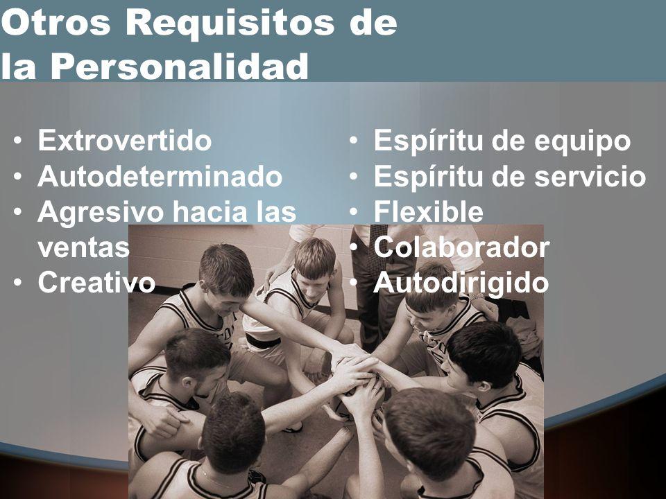 Extrovertido Autodeterminado Agresivo hacia las ventas Creativo Otros Requisitos de la Personalidad Espíritu de equipo Espíritu de servicio Flexible Colaborador Autodirigido