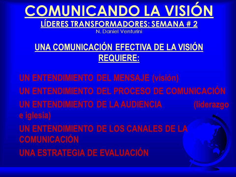 COMUNICANDO LA VISIÓN LÍDERES TRANSFORMADORES: SEMANA # 2 N.