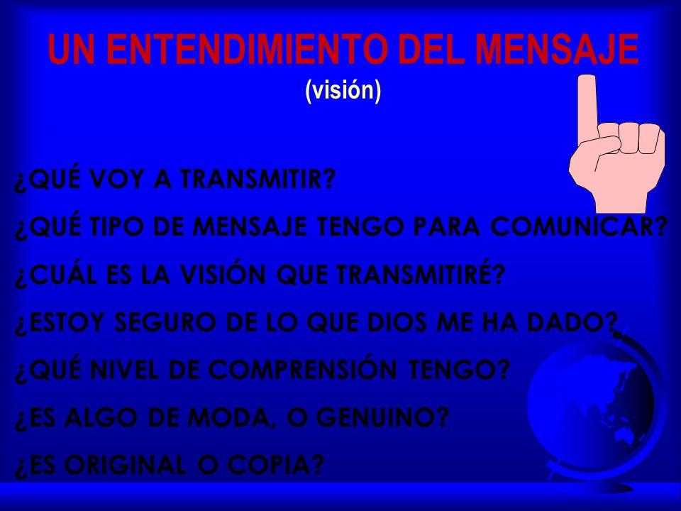 UN ENTENDIMIENTO DEL MENSAJE (visión) ¿QUÉ VOY A TRANSMITIR.