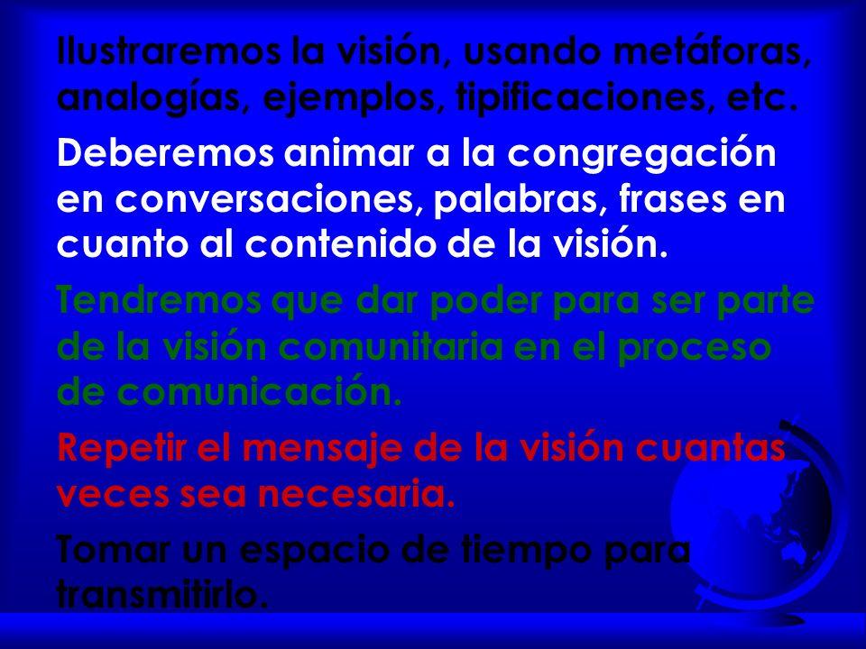 Ilustraremos la visión, usando metáforas, analogías, ejemplos, tipificaciones, etc.