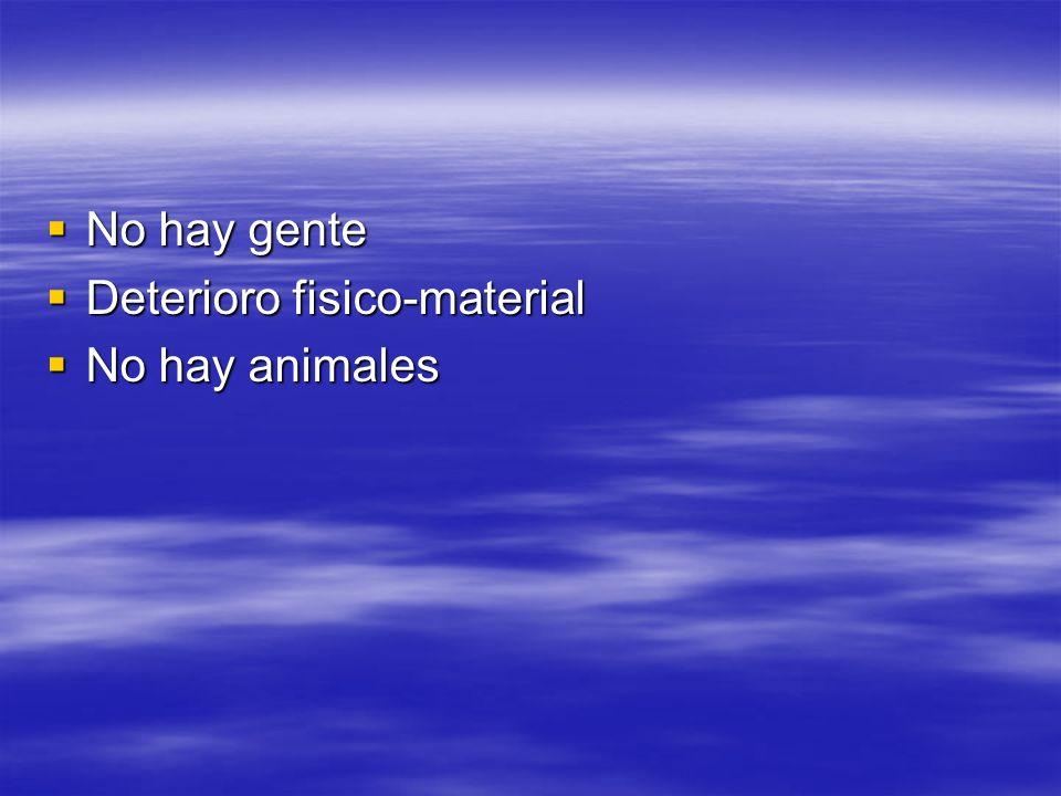 No hay gente No hay gente Deterioro fisico-material Deterioro fisico-material No hay animales No hay animales