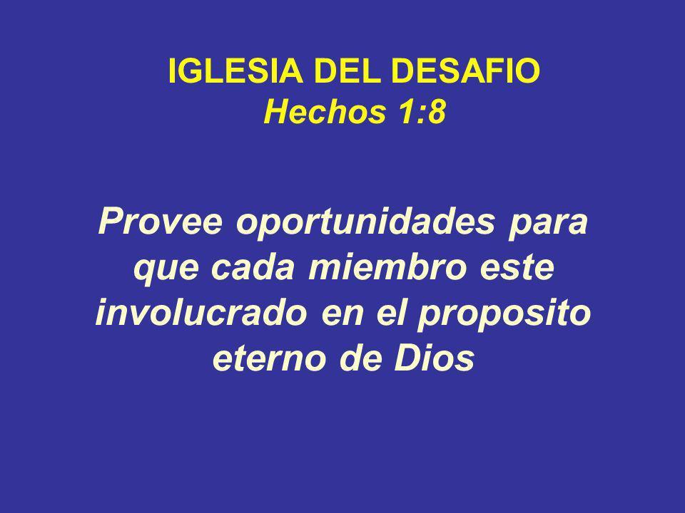 Provee oportunidades para que cada miembro este involucrado en el proposito eterno de Dios IGLESIA DEL DESAFIO Hechos 1:8