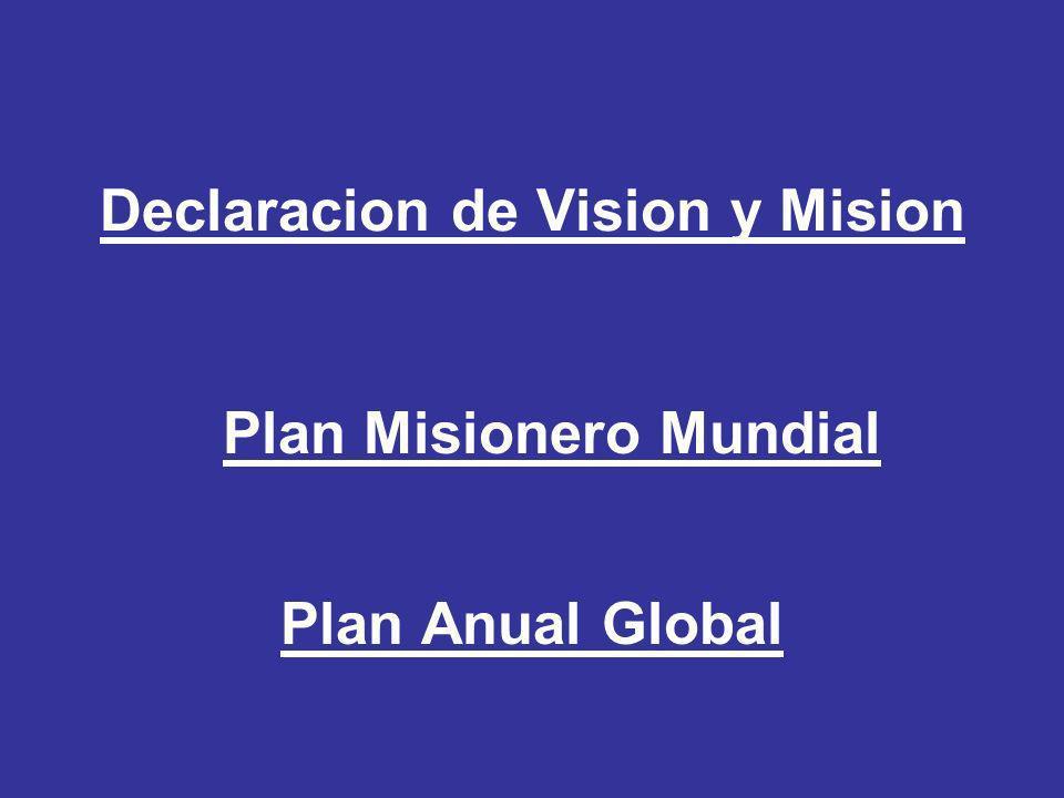 Declaracion de Vision y Mision Plan Misionero Mundial Plan Anual Global