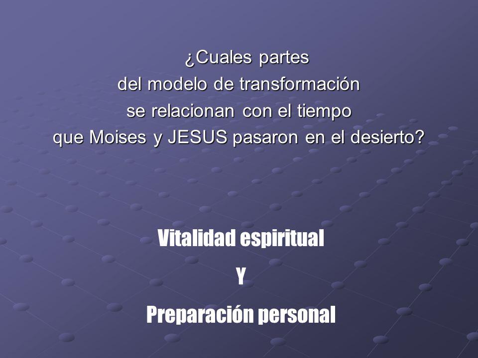 ¿Cuales partes ¿Cuales partes del modelo de transformación se relacionan con el tiempo que Moises y JESUS pasaron en el desierto? Vitalidad espiritual