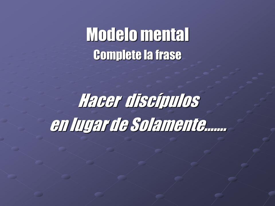 Modelo mental Complete la frase Hacer discípulos en lugar de Solamente…….