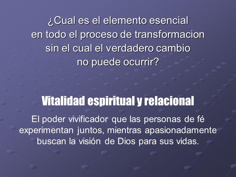 ¿Cual es el elemento esencial en todo el proceso de transformacion sin el cual el verdadero cambio no puede ocurrir? Vitalidad espiritual y relacional