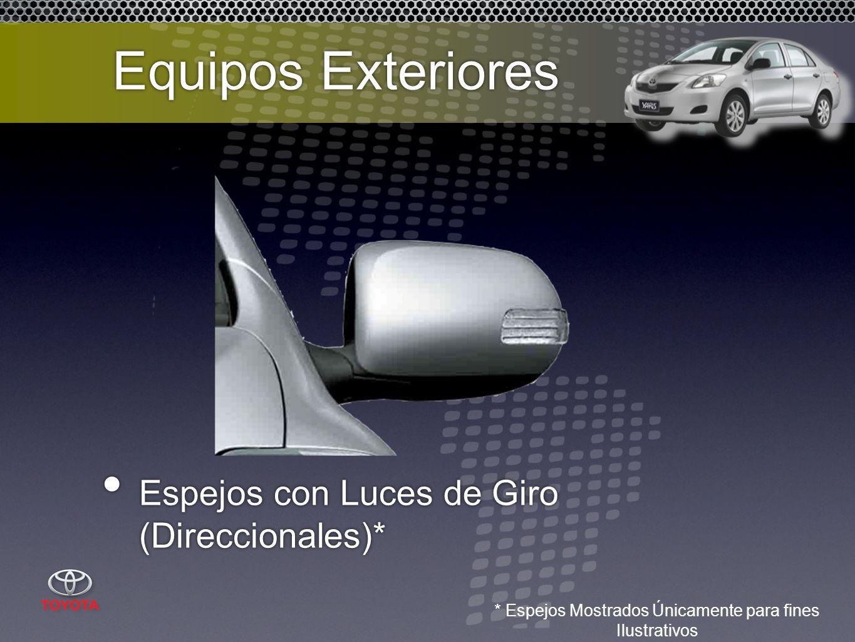 Espejos con Luces de Giro (Direccionales)* * Espejos Mostrados Únicamente para fines Ilustrativos