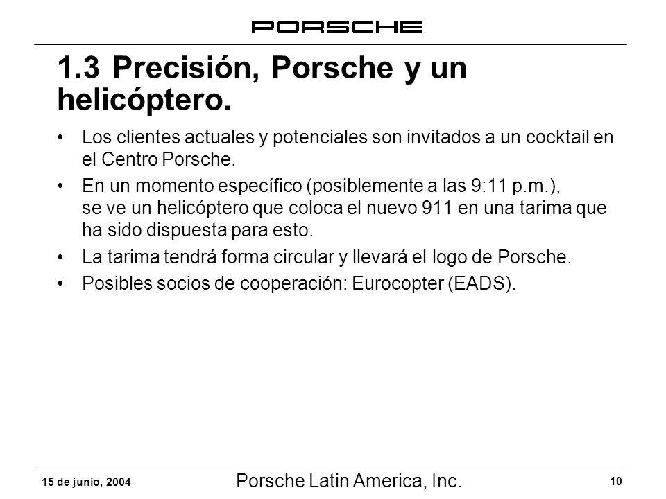 Porsche Latin America, Inc. 10 15 de junio, 2004 Los clientes actuales y potenciales son invitados a un cocktail en el Centro Porsche. En un momento e