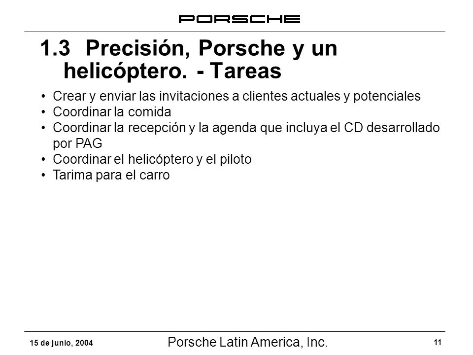 Porsche Latin America, Inc. 11 15 de junio, 2004 1.3 Precisión, Porsche y un helicóptero. - Tareas Crear y enviar las invitaciones a clientes actuales