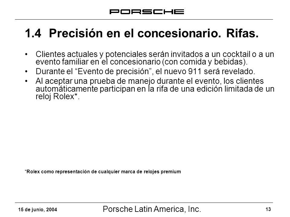 Porsche Latin America, Inc. 13 15 de junio, 2004 Clientes actuales y potenciales serán invitados a un cocktail o a un evento familiar en el concesiona