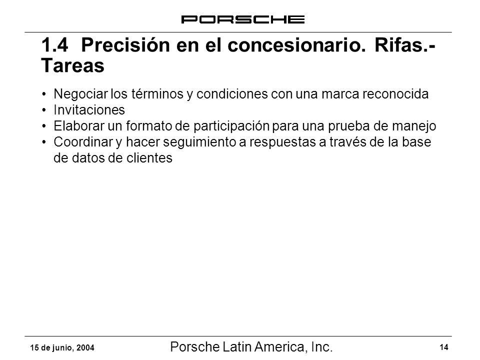 Porsche Latin America, Inc. 14 15 de junio, 2004 Negociar los términos y condiciones con una marca reconocida Invitaciones Elaborar un formato de part