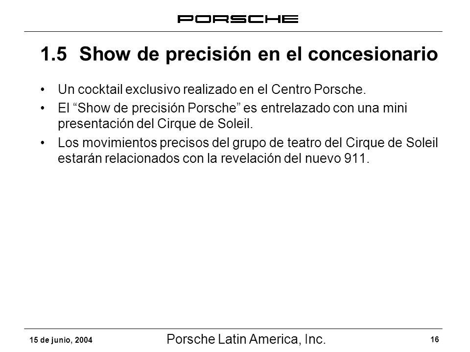 Porsche Latin America, Inc. 16 15 de junio, 2004 Un cocktail exclusivo realizado en el Centro Porsche. El Show de precisión Porsche es entrelazado con