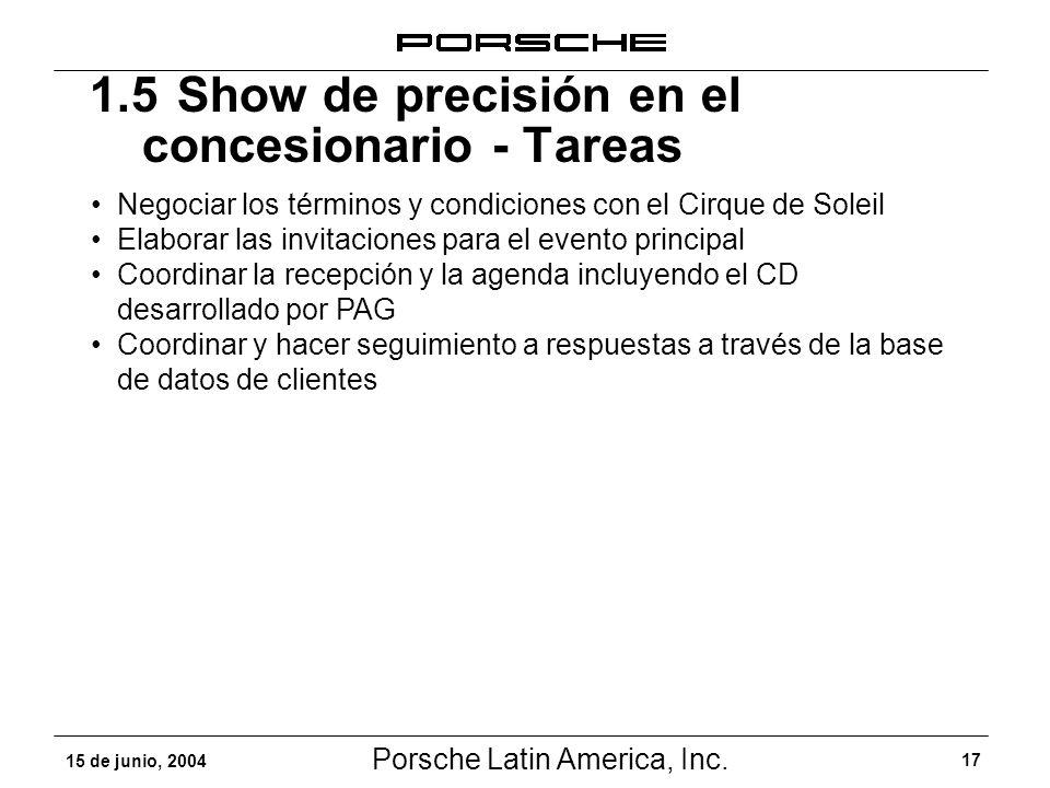 Porsche Latin America, Inc. 17 15 de junio, 2004 1.5Show de precisión en el concesionario - Tareas Negociar los términos y condiciones con el Cirque d