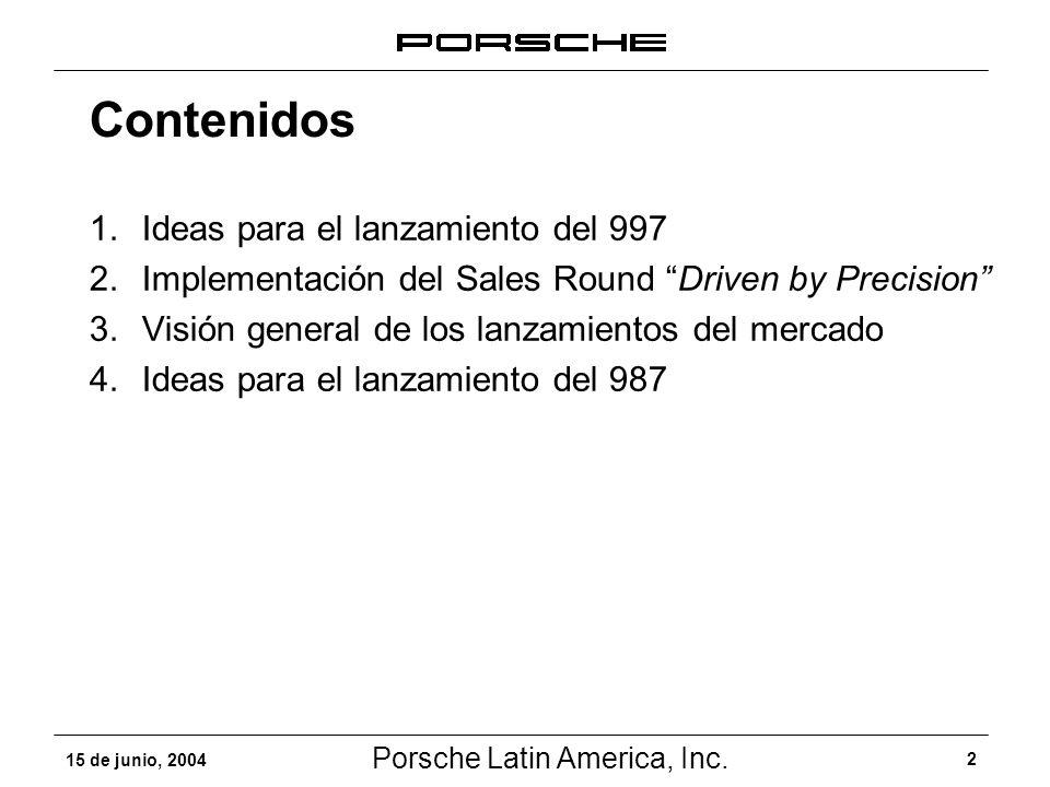 Porsche Latin America, Inc. 2 15 de junio, 2004 Contenidos 1.Ideas para el lanzamiento del 997 2.Implementación del Sales Round Driven by Precision 3.