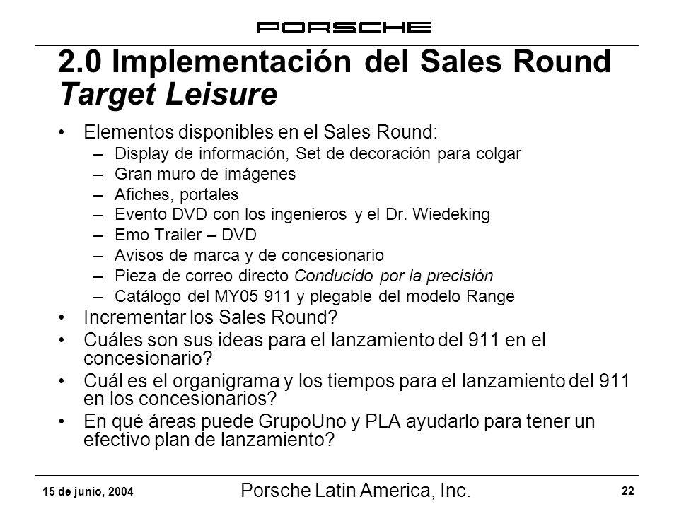 Porsche Latin America, Inc. 22 15 de junio, 2004 Elementos disponibles en el Sales Round: –Display de información, Set de decoración para colgar –Gran