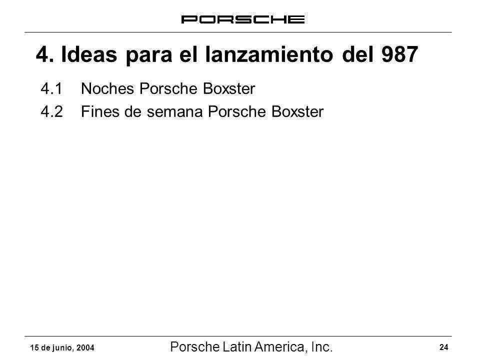 Porsche Latin America, Inc. 24 15 de junio, 2004 4. Ideas para el lanzamiento del 987 4.1Noches Porsche Boxster 4.2Fines de semana Porsche Boxster