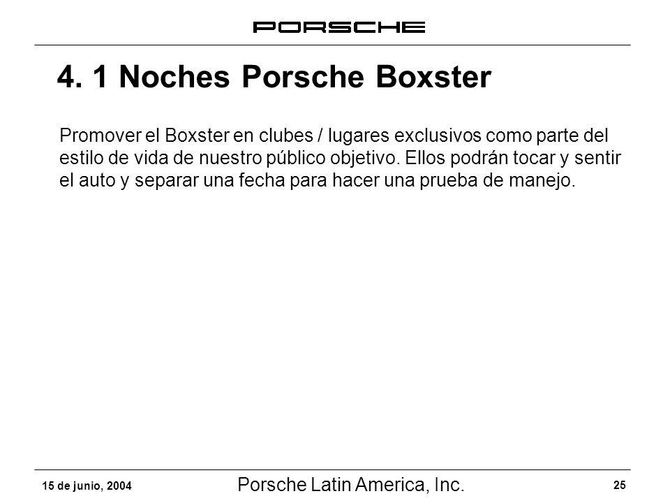 Porsche Latin America, Inc. 25 15 de junio, 2004 4. 1 Noches Porsche Boxster Promover el Boxster en clubes / lugares exclusivos como parte del estilo