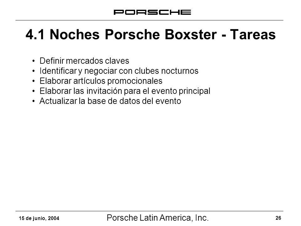 Porsche Latin America, Inc. 26 15 de junio, 2004 4.1 Noches Porsche Boxster - Tareas Definir mercados claves Identificar y negociar con clubes nocturn