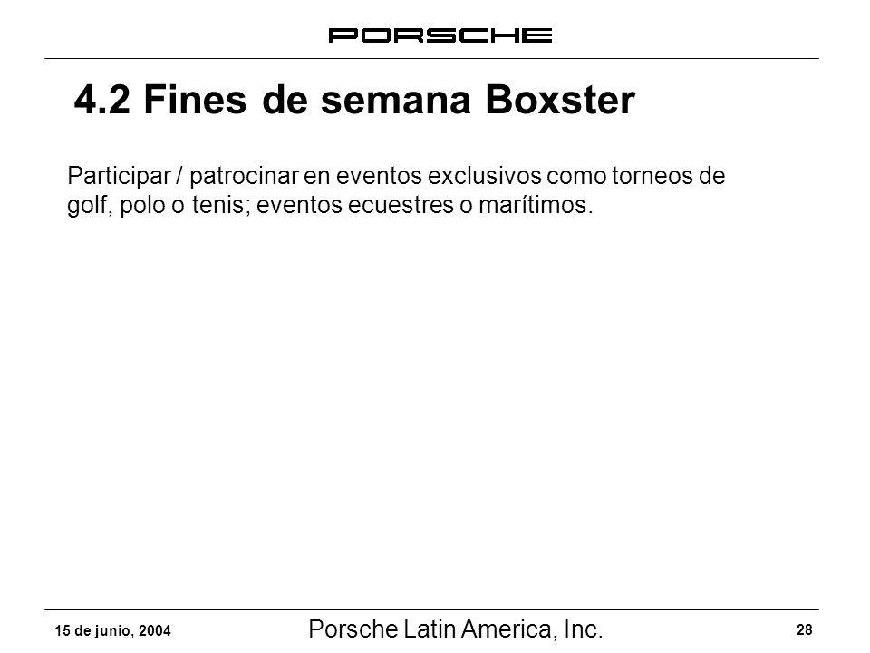 Porsche Latin America, Inc. 28 15 de junio, 2004 4.2 Fines de semana Boxster Participar / patrocinar en eventos exclusivos como torneos de golf, polo