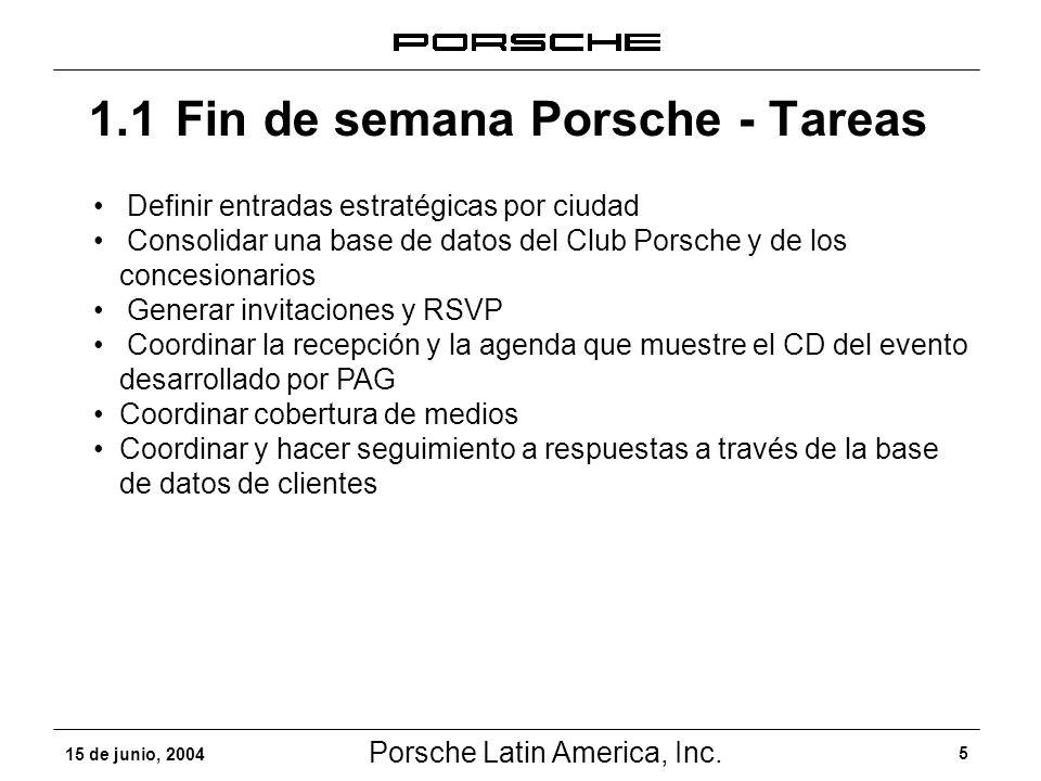 Porsche Latin America, Inc. 5 15 de junio, 2004 1.1Fin de semana Porsche - Tareas Definir entradas estratégicas por ciudad Consolidar una base de dato