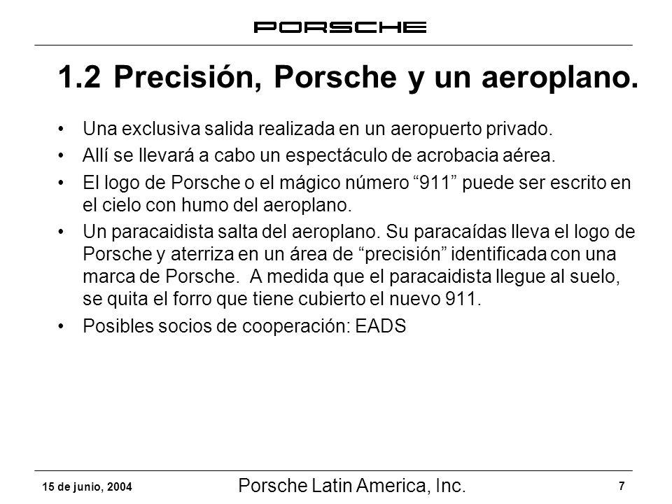 Porsche Latin America, Inc. 7 15 de junio, 2004 Una exclusiva salida realizada en un aeropuerto privado. Allí se llevará a cabo un espectáculo de acro