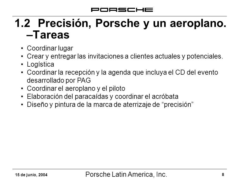 Porsche Latin America, Inc. 8 15 de junio, 2004 1.2 Precisión, Porsche y un aeroplano. –Tareas Coordinar lugar Crear y entregar las invitaciones a cli