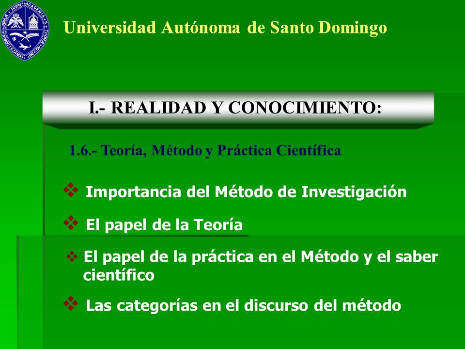 Universidad Autónoma de Santo Domingo 1.6.- Teoría, Método y Práctica Científica I.- REALIDAD Y CONOCIMIENTO: Importancia del Método de Investigación