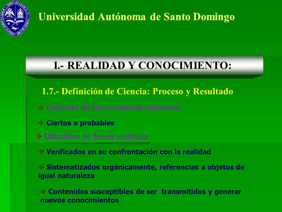 Universidad Autónoma de Santo Domingo 1.7.- Definición de Ciencia: Proceso y Resultado I.- REALIDAD Y CONOCIMIENTO: Conjunto de conocimientos racional