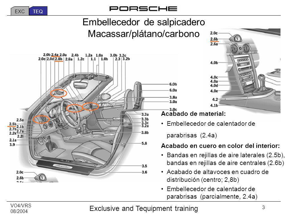 VO4/VRS 08/2004 Exclusive and Tequipment training 4 Example: Dashboard trim macassar Ejemplo: Embellecedor de salpicadero en Macassar EXC