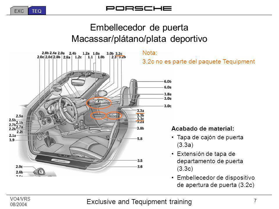VO4/VRS 08/2004 Exclusive and Tequipment training 7 Acabado de material: Tapa de cajón de puerta (3.3a) Extensión de tapa de departamento de puerta (3.3c) Embellecedor de dispositivo de apertura de puerta (3.2c) Embellecedor de puerta Macassar/plátano/plata deportivo Nota: 3.2c no es parte del paquete Tequipment EXC TEQ