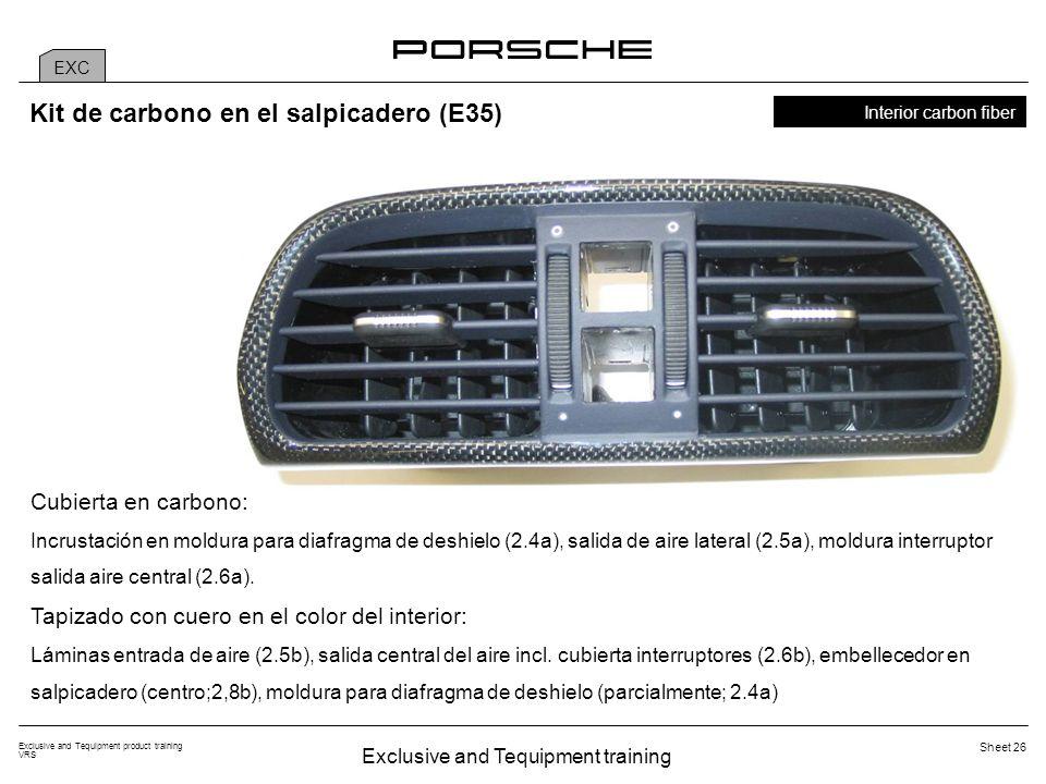 Exclusive and Tequipment training Exclusive and Tequipment product training VRS Sheet 26 EXC Interior carbon fiber Kit de carbono en el salpicadero (E35) Cubierta en carbono: Incrustación en moldura para diafragma de deshielo (2.4a), salida de aire lateral (2.5a), moldura interruptor salida aire central (2.6a).