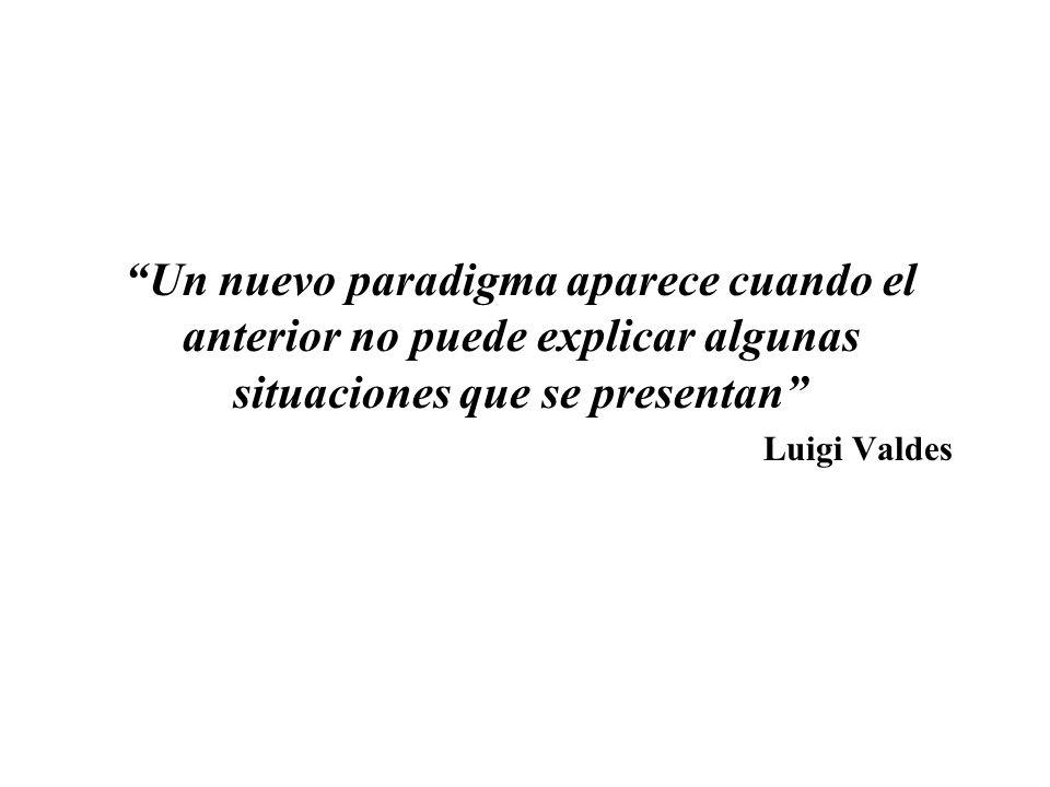 Un nuevo paradigma aparece cuando el anterior no puede explicar algunas situaciones que se presentan Luigi Valdes