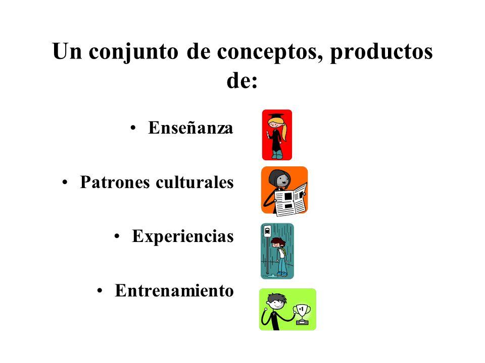 Un conjunto de conceptos, productos de: Enseñanza Patrones culturales Experiencias Entrenamiento