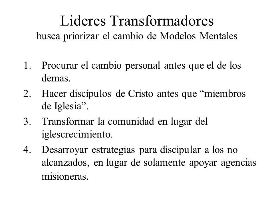 Lideres Transformadores busca priorizar el cambio de Modelos Mentales 1.Procurar el cambio personal antes que el de los demas. 2.Hacer discípulos de C