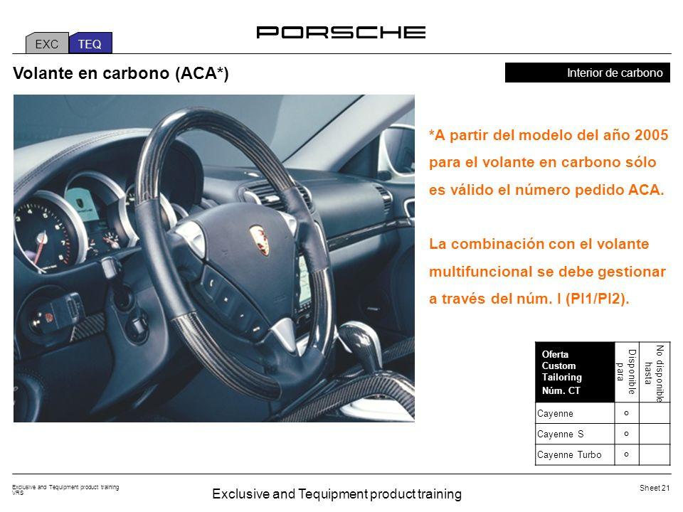 Exclusive and Tequipment product training VRS Sheet 21 Interior de carbono Volante en carbono (ACA*) *A partir del modelo del año 2005 para el volante en carbono sólo es válido el número pedido ACA.