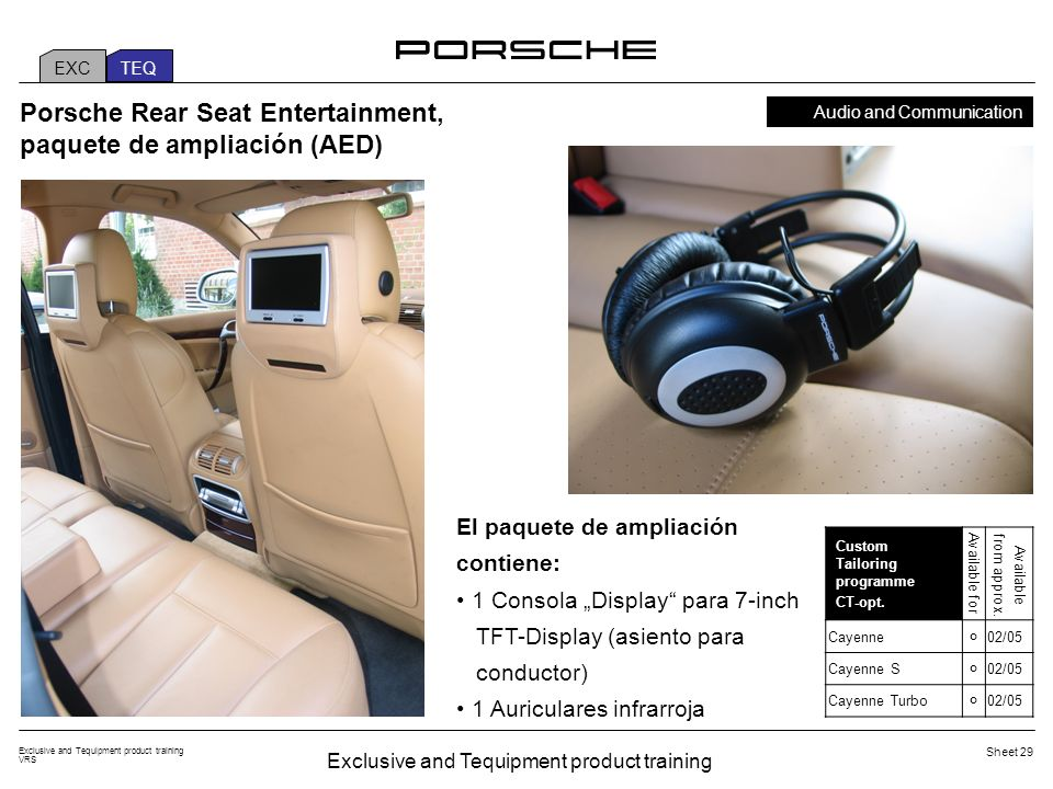 Exclusive and Tequipment product training VRS Sheet 29 Porsche Rear Seat Entertainment, paquete de ampliación (AED) El paquete de ampliación contiene: 1 Consola Display para 7-inch TFT-Display (asiento para conductor) 1 Auriculares infrarroja Custom Tailoring programme CT-opt.