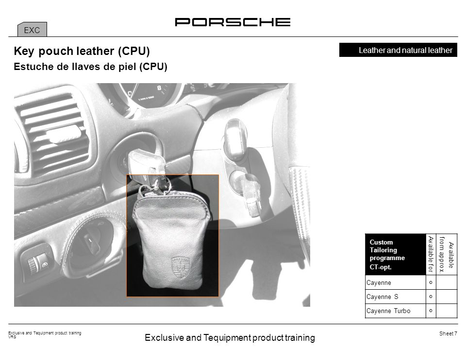 Exclusive and Tequipment product training VRS Sheet 28 Porsche Rear Seat Entertainment additional package (AED) The additional package includes: 1 Display console incl.