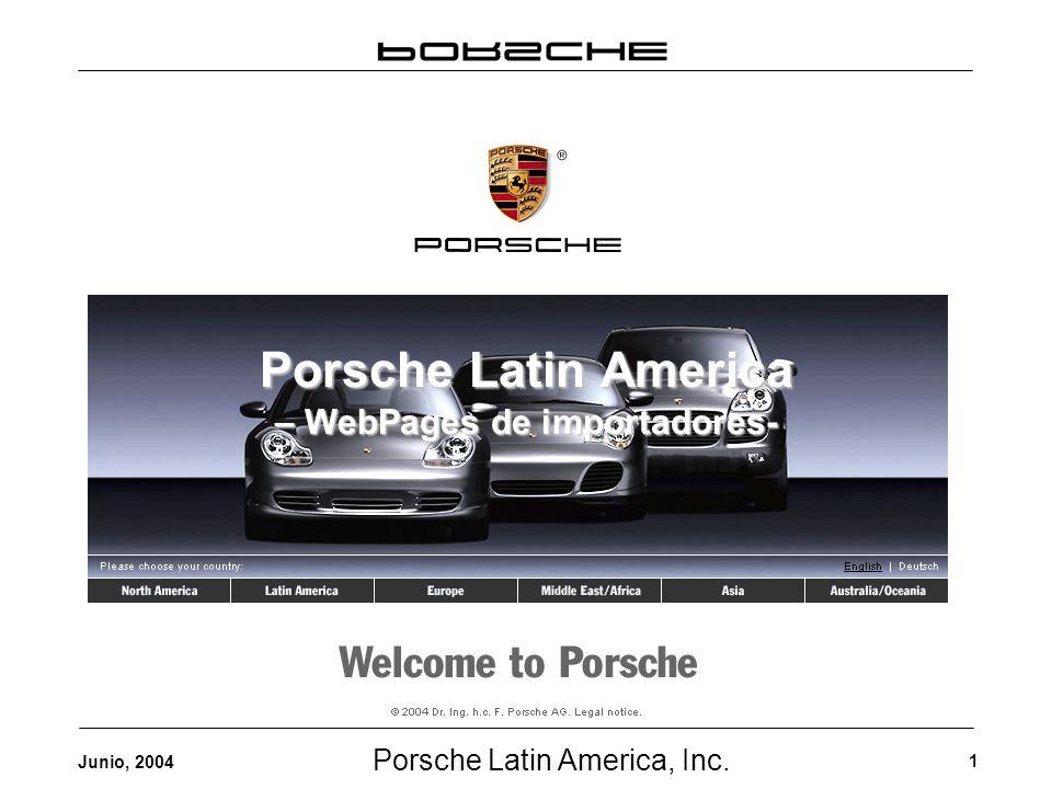 Porsche Latin America, Inc. 1 Junio, 2004 Porsche Latin America – WebPages de importadores-