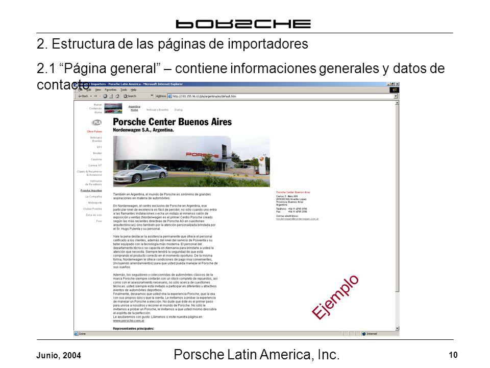 Porsche Latin America, Inc. 10 Junio, 2004 2. Estructura de las páginas de importadores 2.1 Página general – contiene informaciones generales y datos