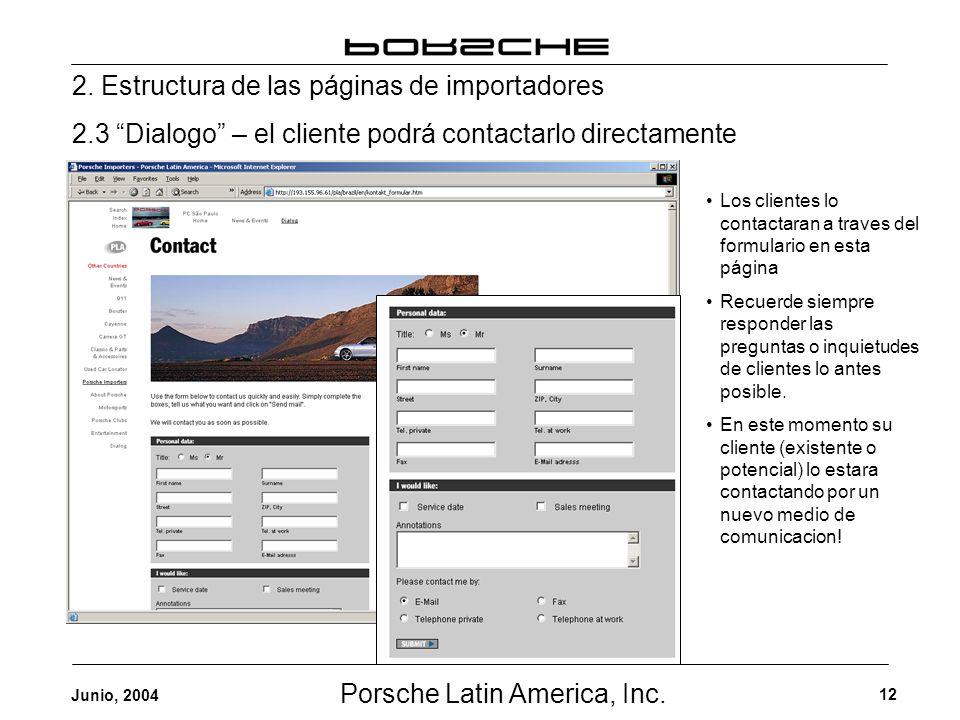 Porsche Latin America, Inc. 12 Junio, 2004 2. Estructura de las páginas de importadores 2.3 Dialogo – el cliente podrá contactarlo directamente Los cl