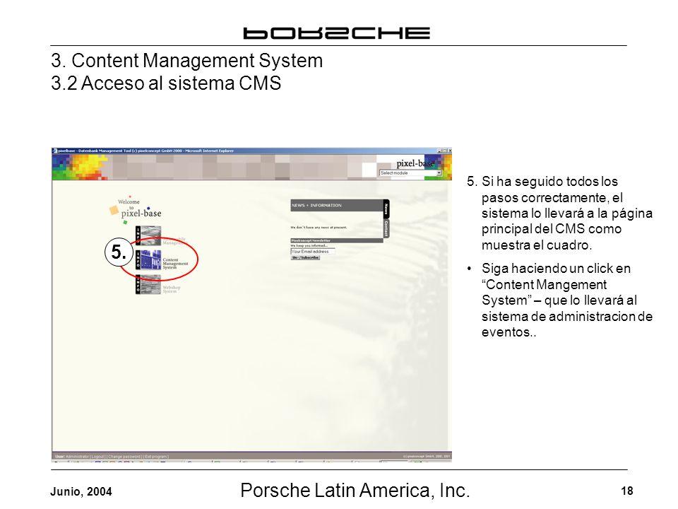 Porsche Latin America, Inc. 18 Junio, 2004 3. Content Management System 3.2 Acceso al sistema CMS 5. 5. Si ha seguido todos los pasos correctamente, e