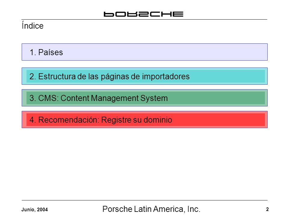 Porsche Latin America, Inc. 2 Junio, 2004 Índice 1. Países2. Estructura de las páginas de importadores3. CMS: Content Management System4. Recomendació