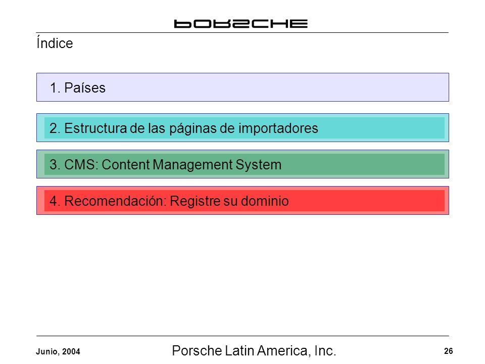 Porsche Latin America, Inc. 26 Junio, 2004 1. Países2. Estructura de las páginas de importadores3. CMS: Content Management System4. Recomendación: Reg
