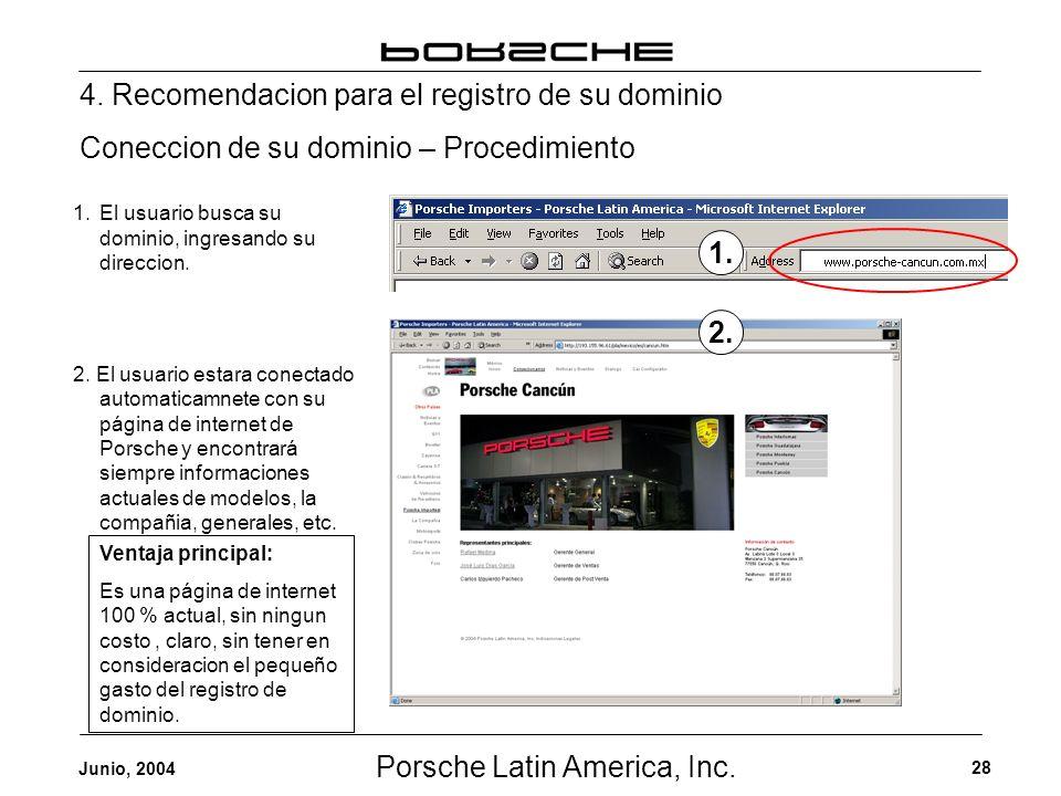 Porsche Latin America, Inc. 28 Junio, 2004 4. Recomendacion para el registro de su dominio Coneccion de su dominio – Procedimiento 1.El usuario busca