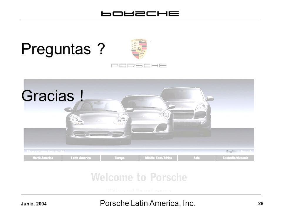 Porsche Latin America, Inc. 29 Junio, 2004 Preguntas ? Gracias !