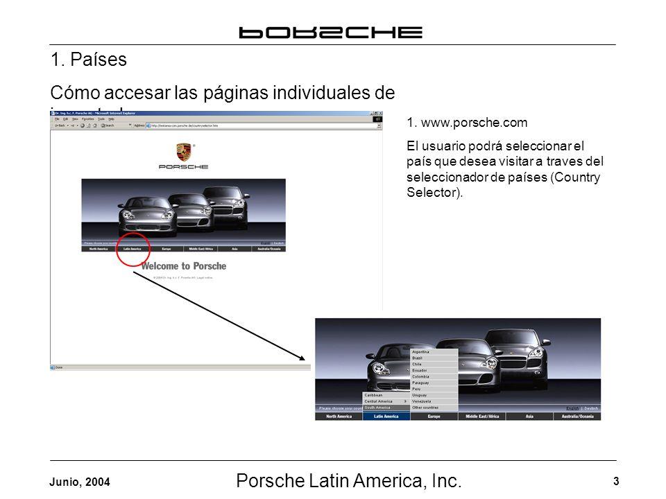 Porsche Latin America, Inc. 3 Junio, 2004 1. Países Cómo accesar las páginas individuales de importadores 1. www.porsche.com El usuario podrá seleccio